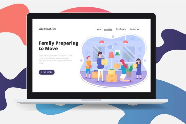 Family Preparing to Move Flat Illustration