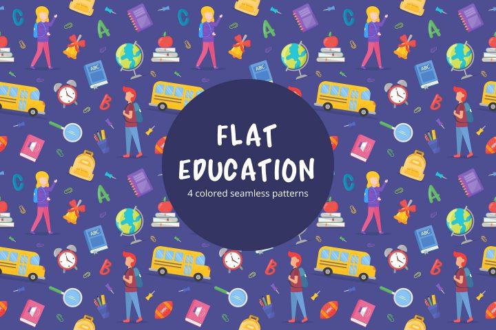 Flat Education Vector Seamless Pattern