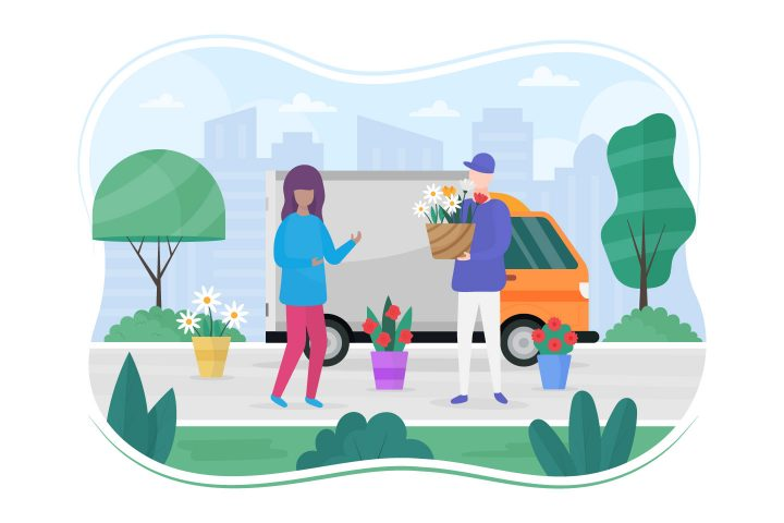 Flower Delivery Free Flat Illustration