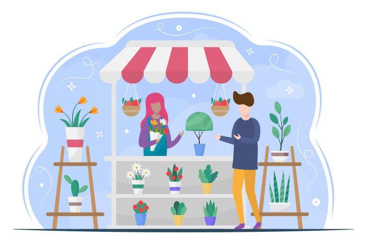 Flower Shop Vector Flat Illustration