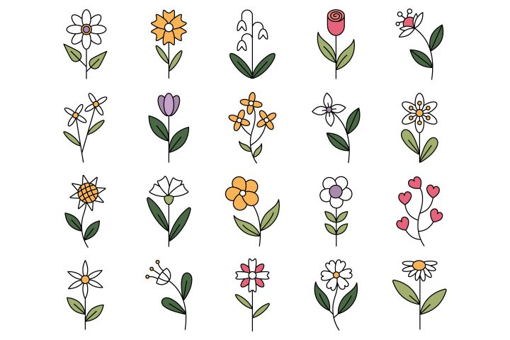 Flowers Vector Free Icon Set