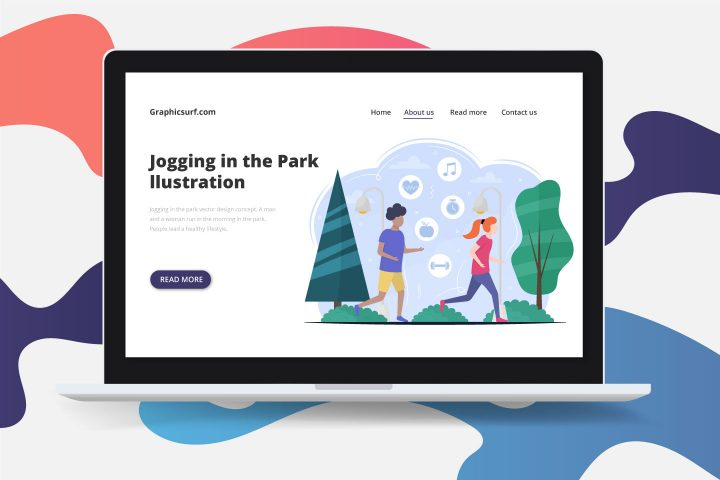 Jogging in the Park Vector Design Concept