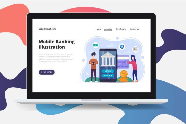 Mobile Banking Vector Free Illustration