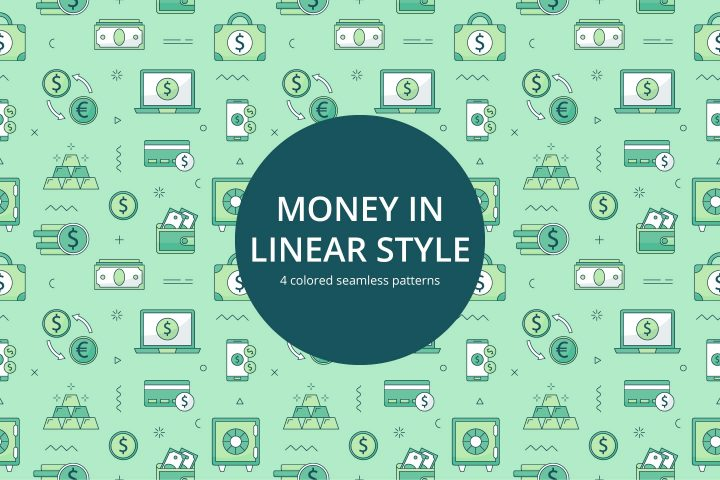 Money Free Seamless Pattern in Linear Style