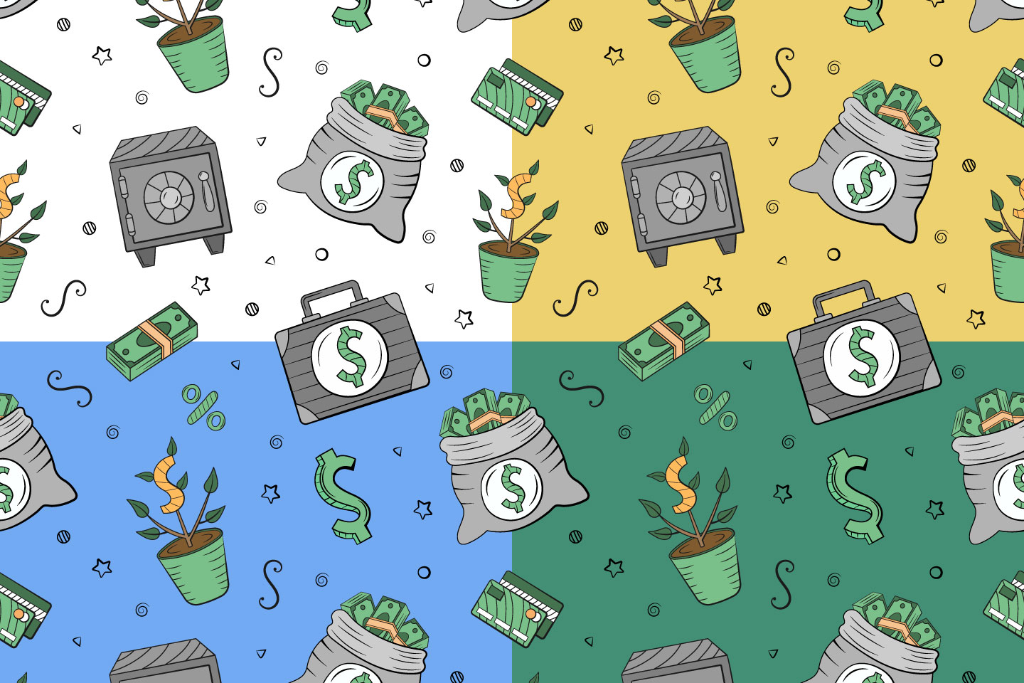 Money Seamless Pattern in Doodle Style
