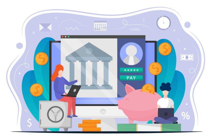 Online Banking Free Vector Design Concept