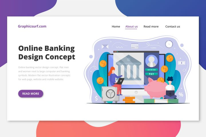 Online Banking Free Vector Design Concept