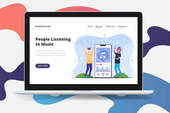 People Listening to Music Vector Free Flat Illustration