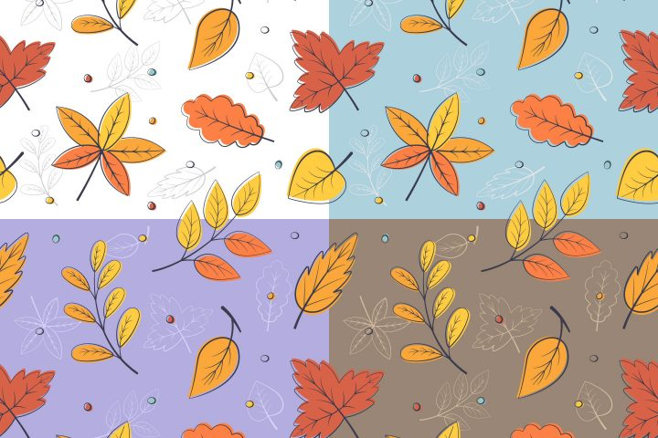 Autumn Leaves Free Vector Seamless Pattern