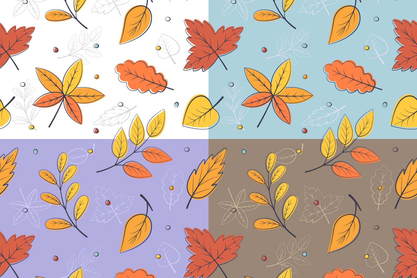 Autumn Leaves Vector Seamless Pattern