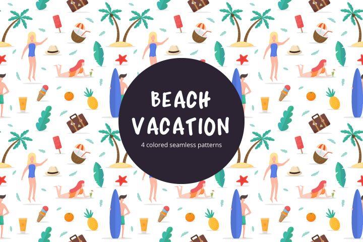 Beach Vacation Seamless Free Vector Pattern