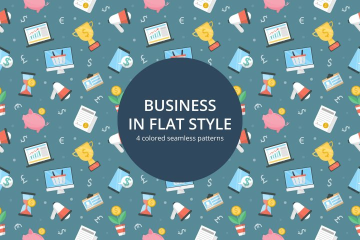 Business Seamless Pattern in Flat Style