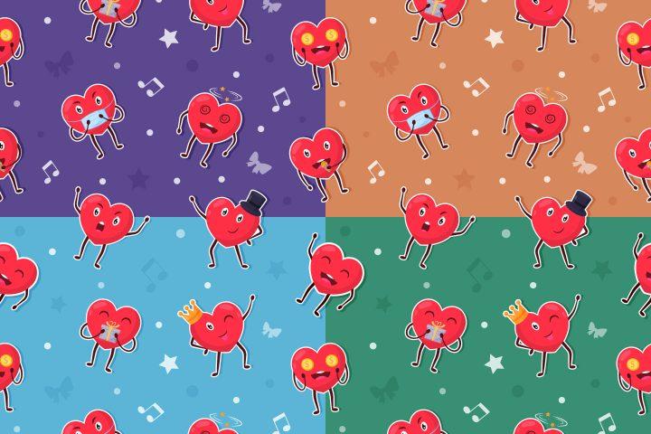 Cartoon Hearts Vector Seamless Pattern