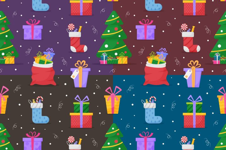 Christmas Gifts Vector Free Seamless Pattern