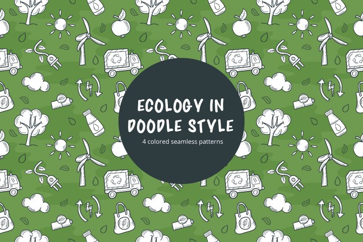 Ecology in Doodle Style Vector Free Seamless Pattern