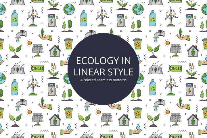 Ecology in Linear Style Vector Seamless Pattern