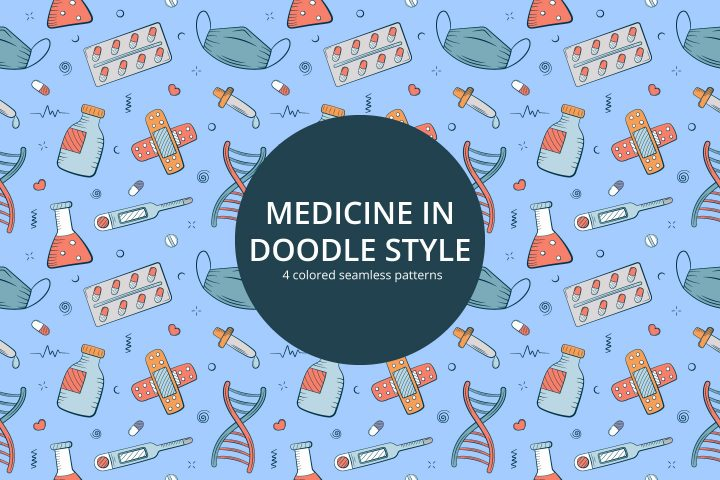 Medicine in Doodle Style Free Vector Seamless Pattern