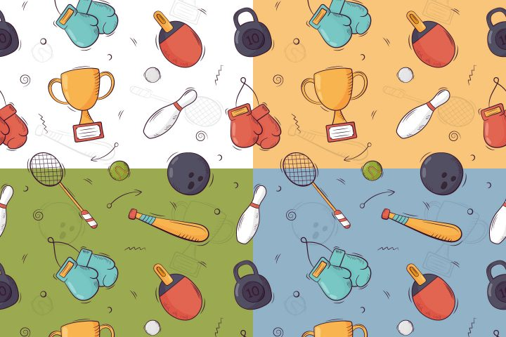 Sport Free Seamless Pattern in Doodle Style