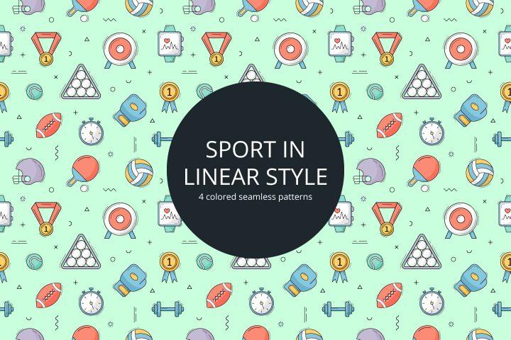 Sport Vector Seamless Pattern in Linear Style