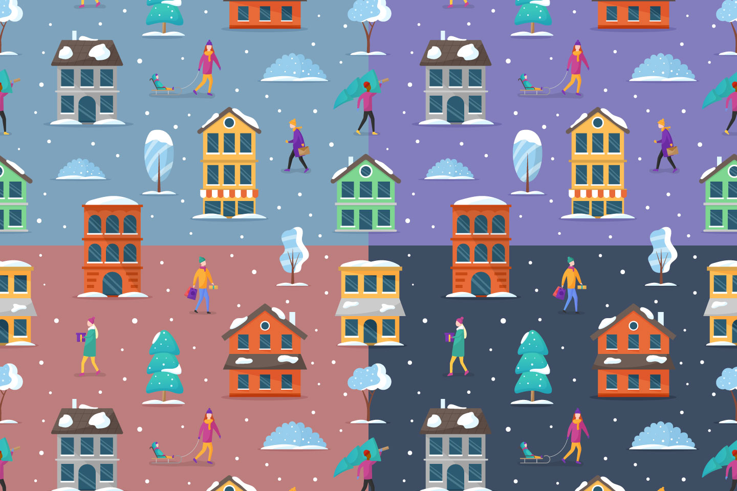 Winter Houses Vector Seamless Pattern