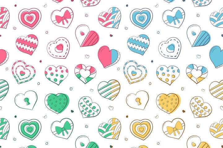 Colored Hearts Vector Free Seamless Pattern