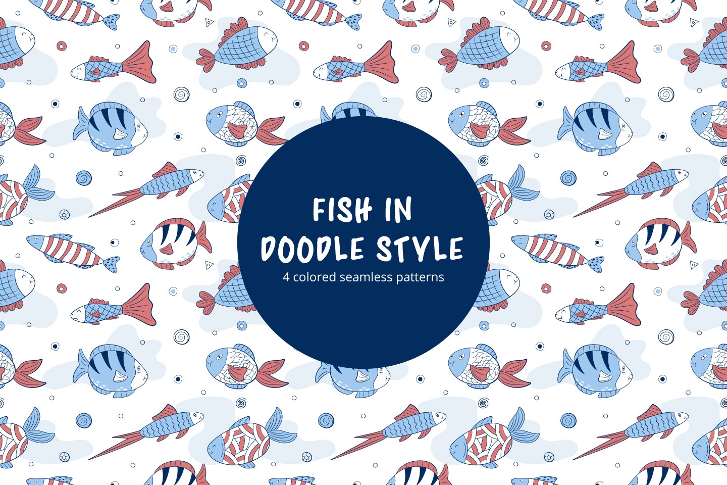 Fish in Doodle Style Free Vector Seamless Pattern