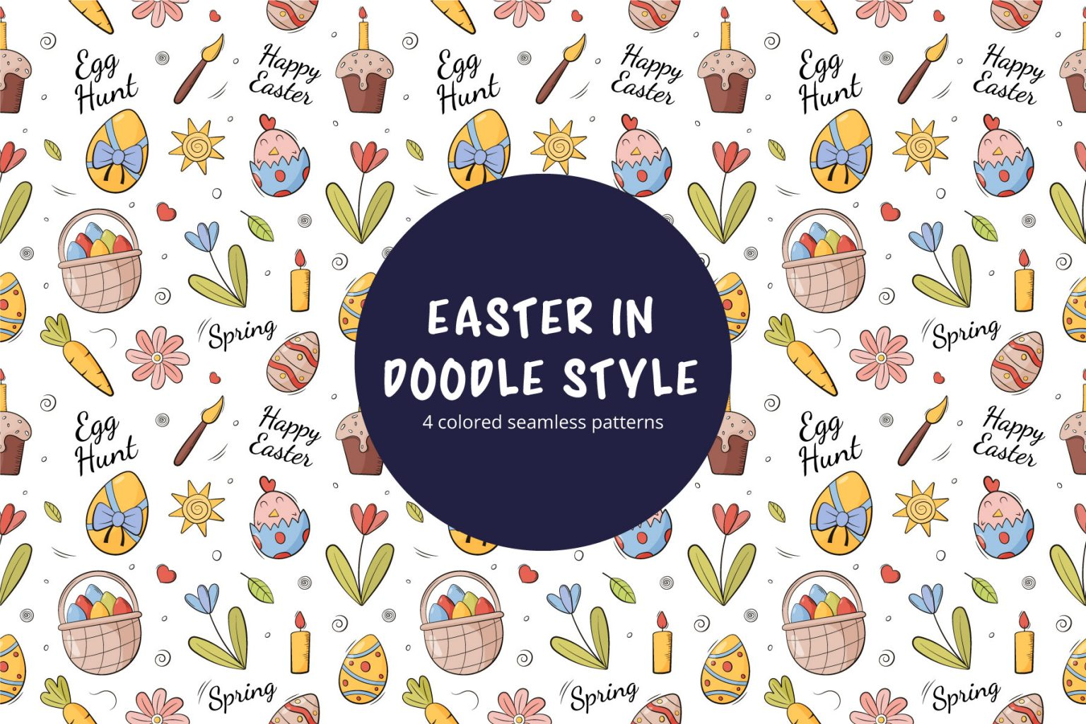 Happy Easter Doodle Style Vector Free Seamless Pattern