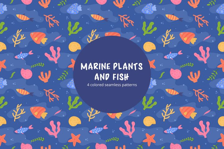Marine Plants and Fish Vector Seamless Free Pattern