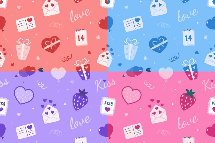 Romantic Valentines Day Vector Free Seamless Pattern