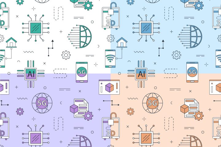Technology Vector Seamless Pattern in Linear Style