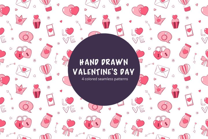 Valentines Day Hand Drawn Free Vector Seamless Pattern