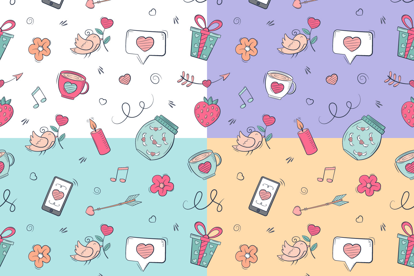 Valentine's Day Vector Seamless Pattern in Doodle Style