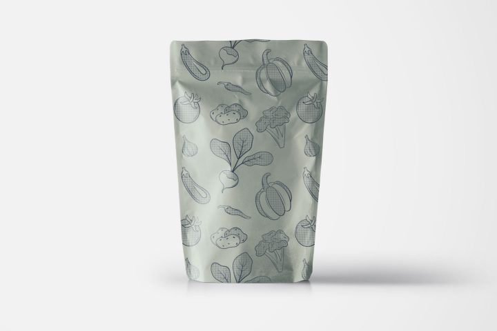 Vegetables Vector Free Pattern in Monochrome Style
