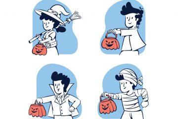 People Doodle Halloween