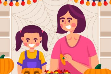 Mom and Daughter preparing Halloween Decorations