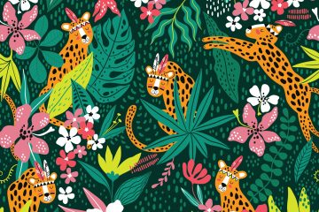 Leopard with Tropical Leaves
