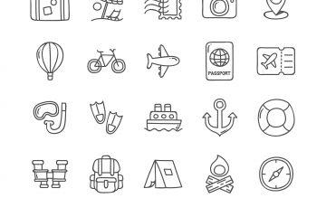 Travel Doodle Icons Set
